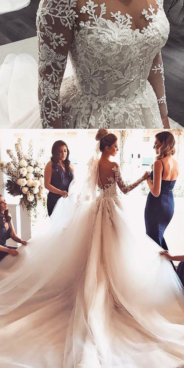 Wedding Dresses Ball Gown Modern Tulle Jewel Neckline A Line