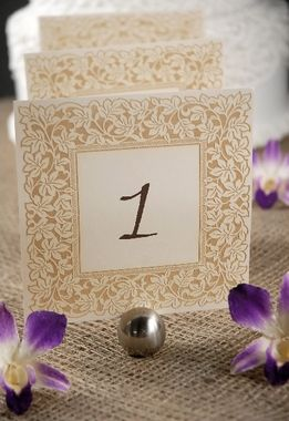 Table Numbers Ivory & Gold Lazer Cut Ivy Border 1-10 (10 cards)