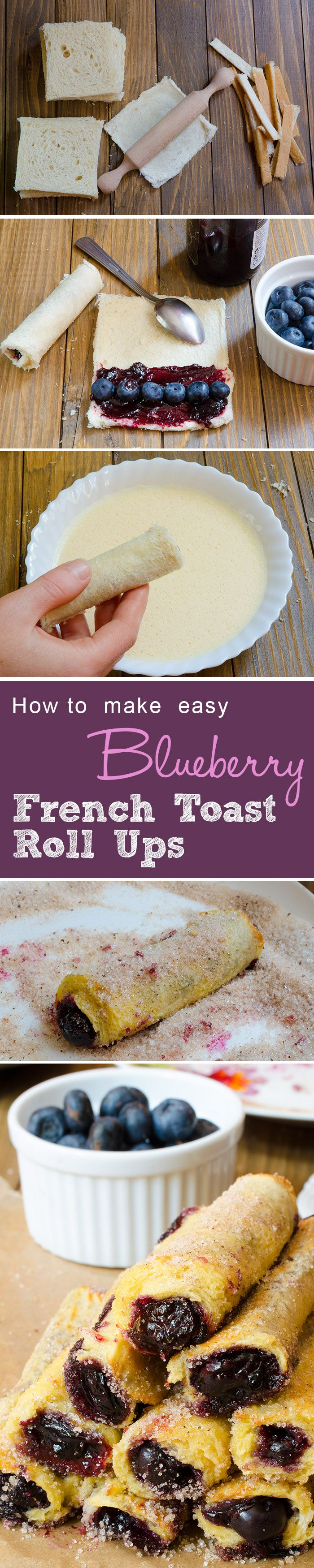 Imperfectly Perfect Blueberry French Toast Roll Ups - Easy to make breakfast recipe. #blueberry #breakfas #recipes