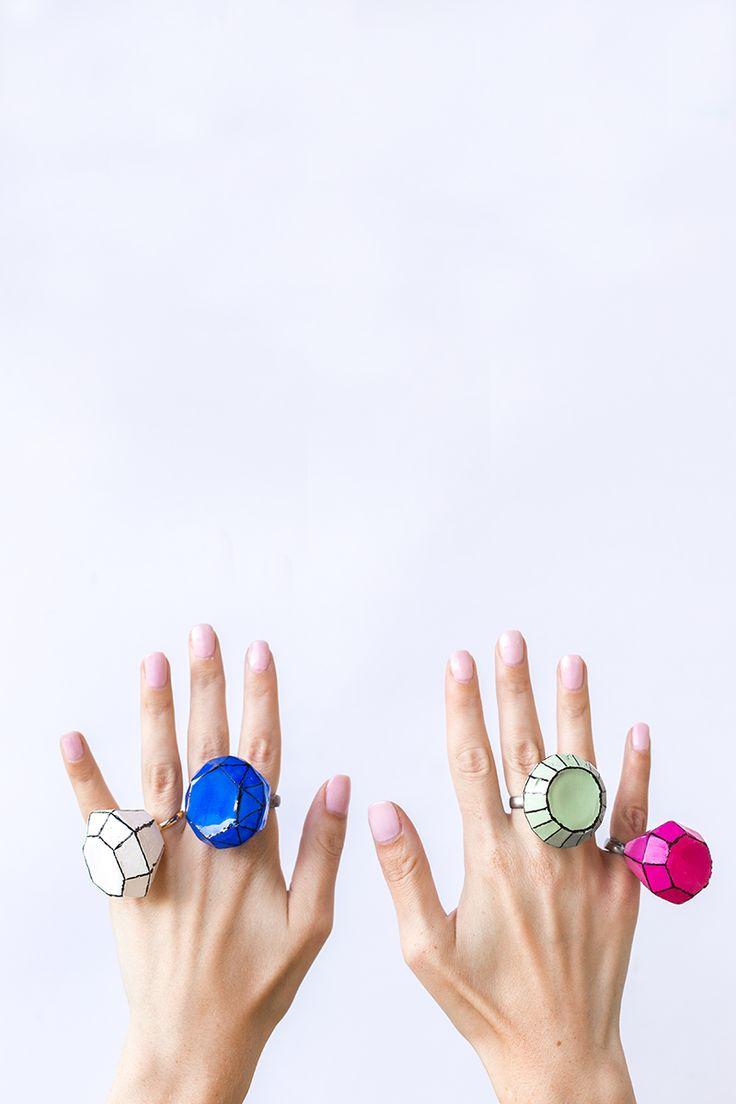 DIY Giant Gem Rings....Cute for a Diva Party •°•° DIY Grote Edelsteen Ringen, Leuk voor een Diva Feestje