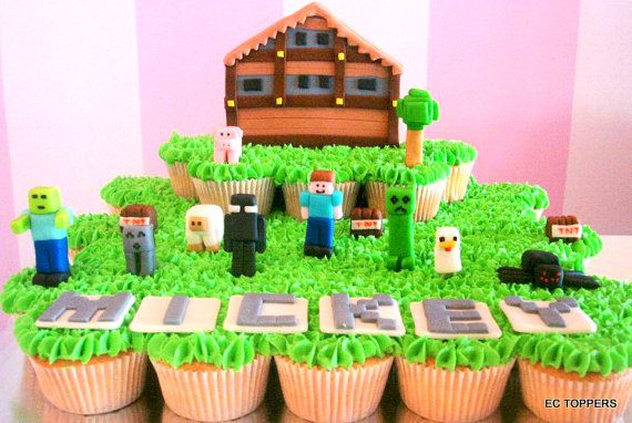 Large SET mine craft  Fondant Cake or Cupcake Toppers by ECTOPPERS, $54.99