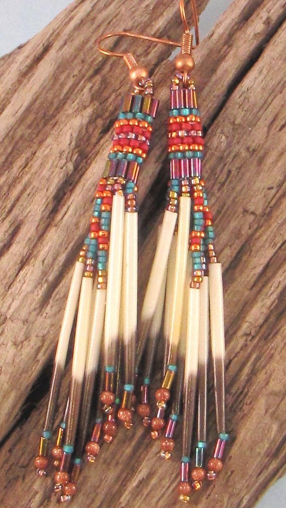 Cascading Emerald Orange and Maroon Quill by CreationsbyWhiteWolf, $23.00
