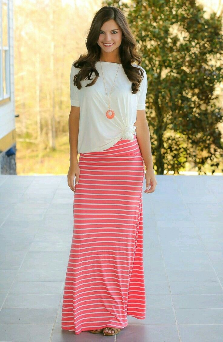 Falda rayada | Look Faldas largas | Pinterest | Falda, Faldas largas ...