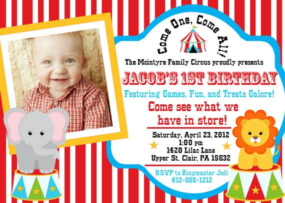 144 Best Kids 1St Birthday Circus Theme Images On Pinterest