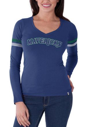 '47 Dallas Mavericks Womens Blue Vintage Post Season T-Shirt