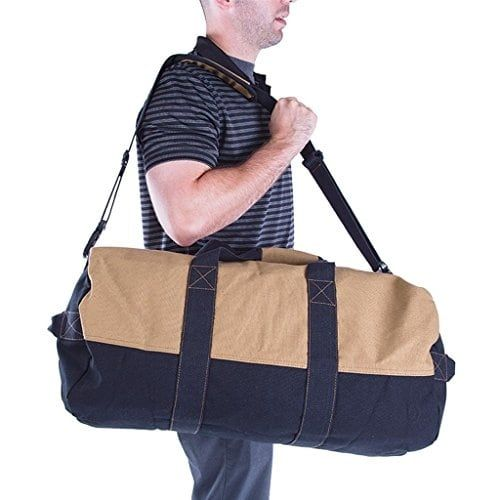 Stansport Two-Tone Canvas Duffle Bag With Zipper, 18 X 36-Inch