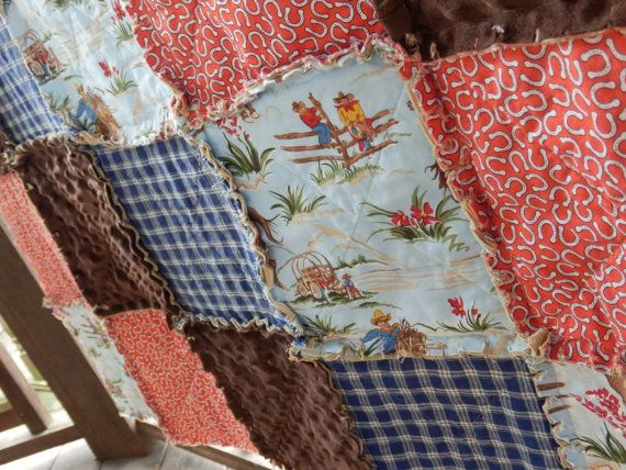 Custom for Shara, Twin Size Quilt and Sham, Country Western Quilt, Cowboy Cowgirl Horse Rag Quilt, Handmade in NJ