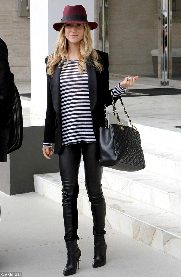 Kristin Cavallari.. elegant Mum-to-be chic - Joe's Jeans Lisa Stripe Tee, Kristin Cavallari Chinese Laundry Kristin Cavallari 'Caylin' Booties, leather trousers, and a Chanel tote..
