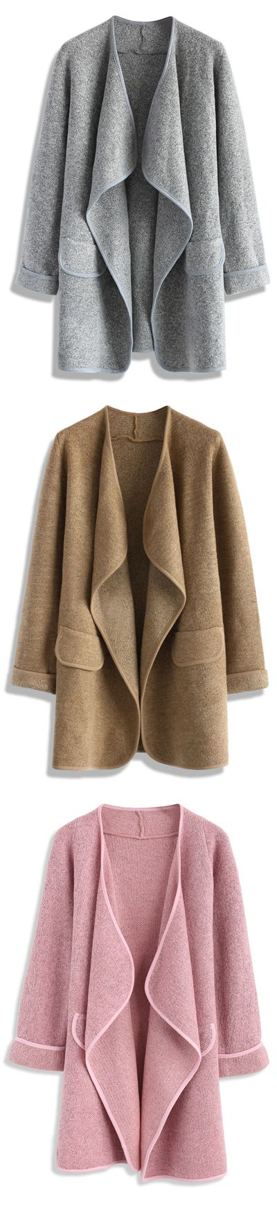 43% OFF! Only $39.90! Just Knitted Open Coat in Grey/Brown/Pink Chicwish.com