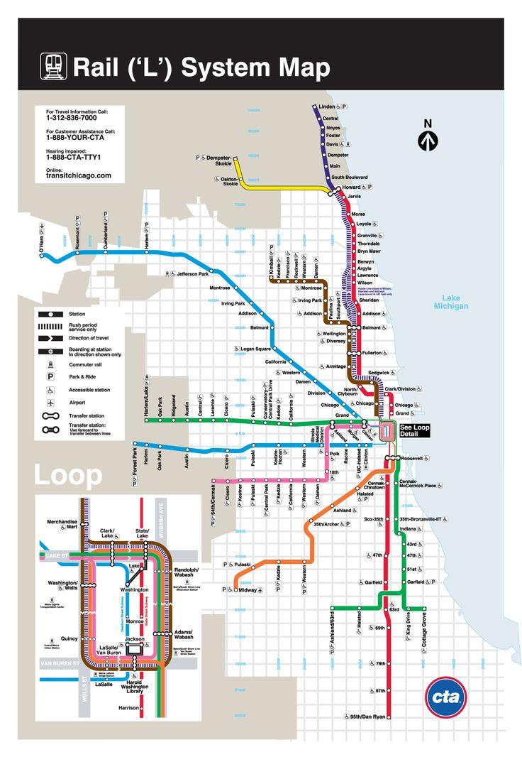 """L : Mapa do metrô de Chicago , Estados Unidos Chicago tem um sistema de metrô (trem subterrâneo metropolitano – Metrô de Chicago) complementado por um sistema de trens periférico. É popularmente conhecido como o Chicago """"L"""" (de Elevated), e é operado pela Autoridade de Trânsito de Chicago (CTA , sigla em inglês). O sistema atual vem de um sistema de trânsito rápido sobre a superfície,..."""