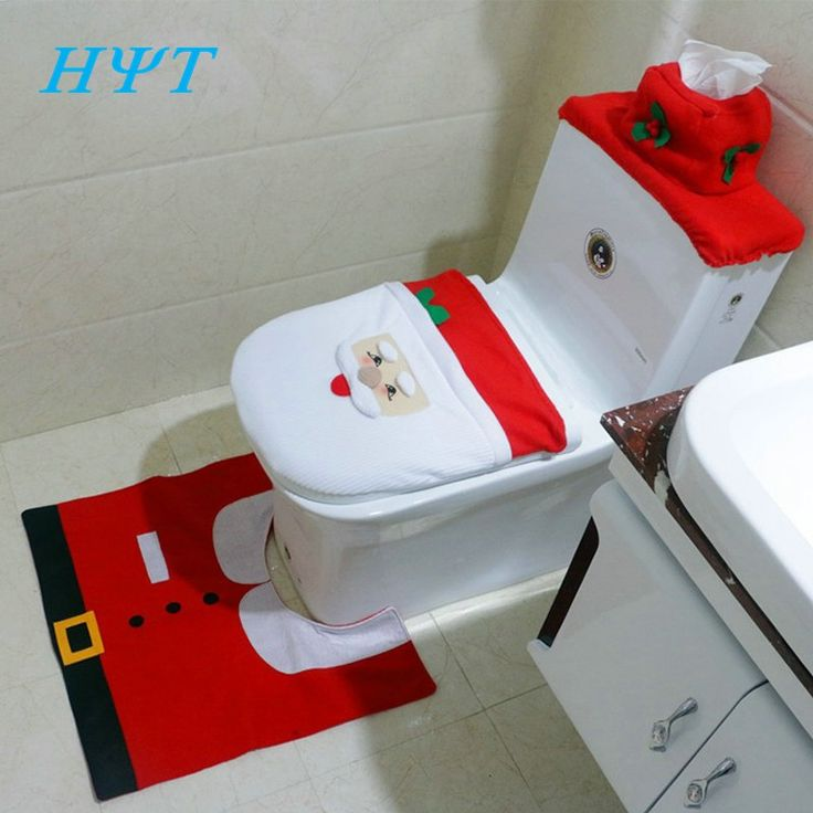 2016 Santa Claus Toilet Seat Cover and Rug Bathroom Set Contour Rug Christmas Decorations for Home Papai Noel Navidad Decoracion