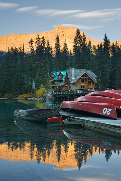 Canoes at Emerald Lake Lodge, Emerald Lake, Yoho National Park, British Columbia, Canada