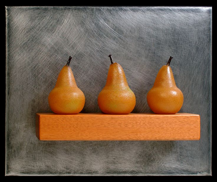 Art Glass, 'Three Gold Pears Still-Life', wall sculpture composed of hand blown glass pears, stainless steel and mahogany.