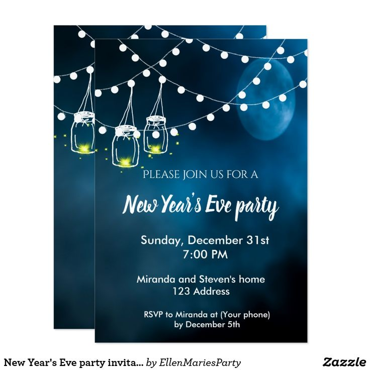 New Year's Eve party invitation rustic mason jars