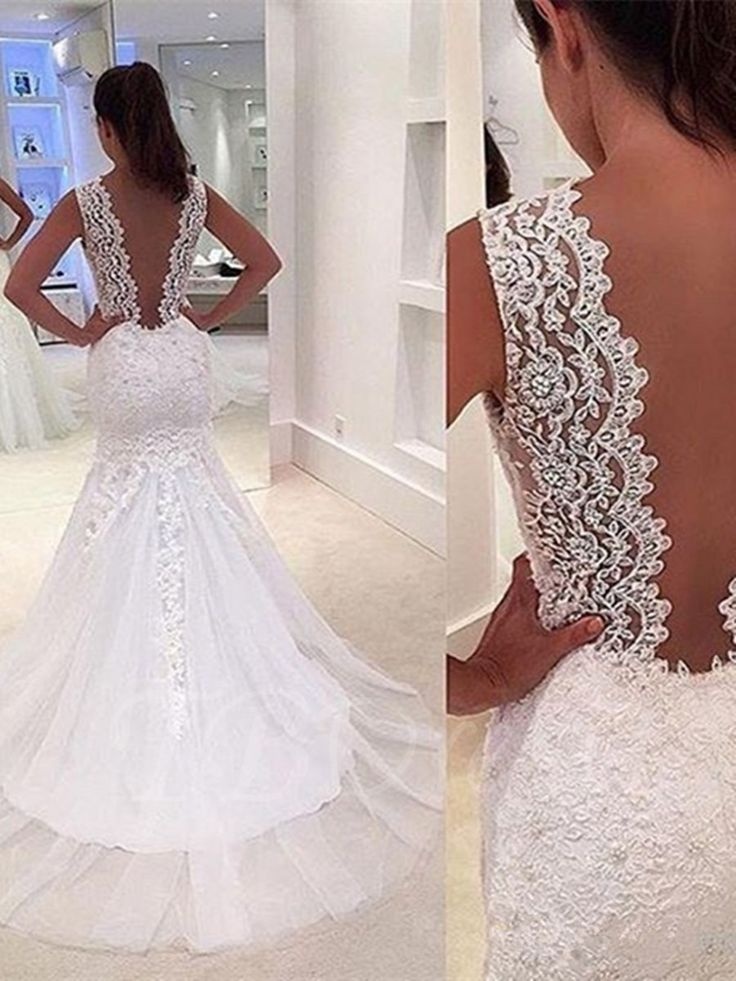 Tbdress.com offers high quality V-Neck Lace Appliques Court Train Wedding Dress With Sheer Back Latest Wedding Dresses unit price of $ 182.39.