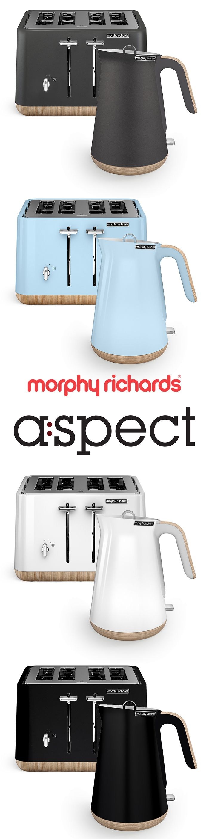 The Scandi Aspect sets of kettle and toaster by Morphy Richards are the talk of the town. These gorgeously styled appliances have wooden trims and all the functionality expected in a modern kitchen. Go Scandinavian!