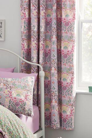 Nancy Floral Black Out Pencil Pleat Curtains