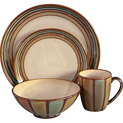 @Overstock - This Sango Flair dinnerware set offers a great coloration of reactive glazes that creates a unique handcrafted look.  The dinner and salad plates are banded, while the mugs and bowls have vertical vertical striping creating a very balanced look.http://www.overstock.com/Home-Garden/Sango-Flair-Brown-16-piece-Dinnerware-Set/5656904/product.html?CID=214117 Add to cart to see special price