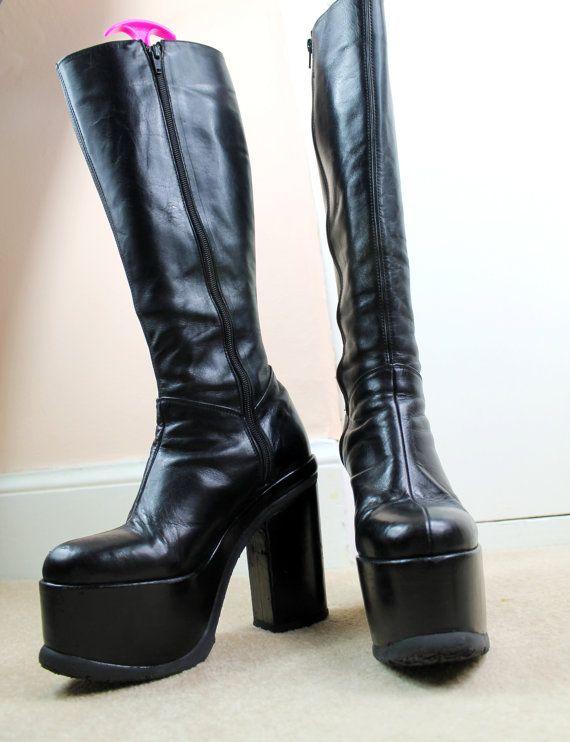 90s Grunge Goth Black Leather Classic Knee High Wardrobe Staple Chunky Platform Boots UK 5 / US 7.5 / EU 38 on Etsy, $252.61