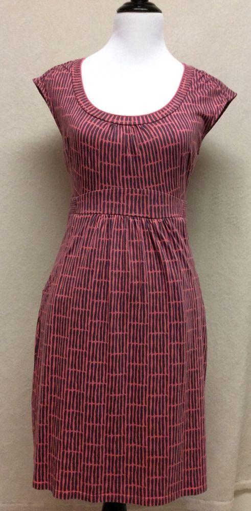 boden pink grey 6 stretch dress Pockets cap sleeve soft casual wear | eBay