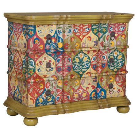 3 Drawer Mahogany Wood Chest With A Hand Painted Moroccan Inspired Motif.