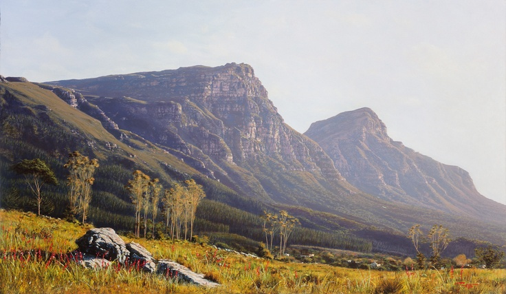 Painting of Constantiaberg and Devils Peak Cape Town