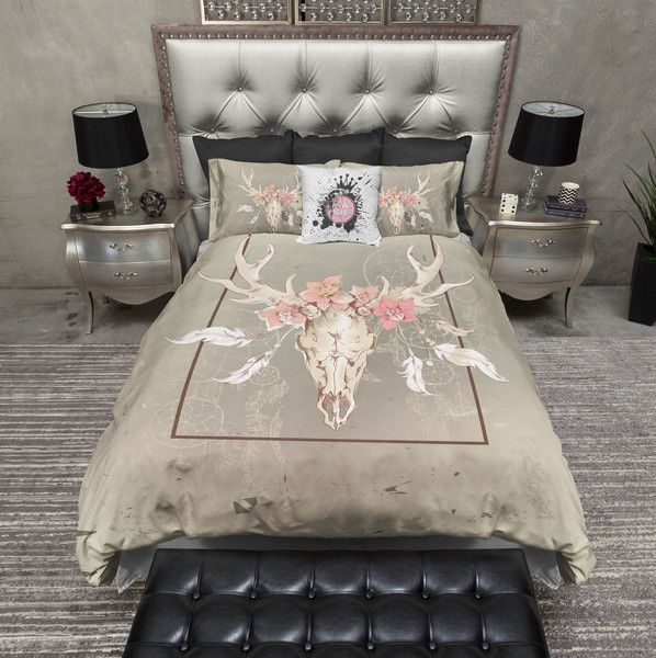 Dream Catcher Floral Buck Skull Duvet Bedding Sets