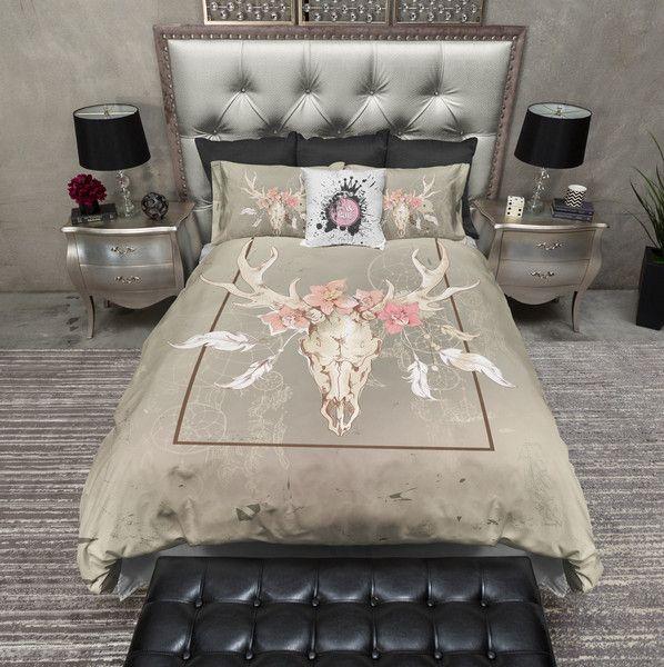 Dream Catcher Floral Buck Skull Duvet Bedding Sets