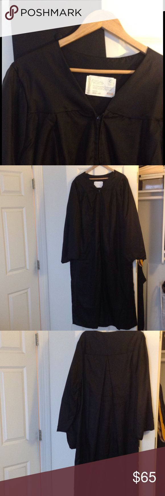 "Jostens graduation cap and gown 100% acetate black graduation gown/robe with matching cap. Zip front. For 6'1"" to 6'3"". Worn once. Unisex. Jostens Dresses"