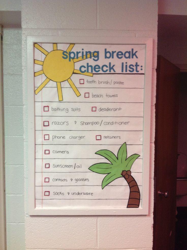 Spring Break Check List bulletin board Dorm bulletin