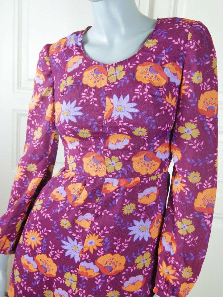 Hungarian Vintage Maxi Dress, 1970s Purple Orange Floral Long Dress, European Hostess Dress, Boho Dress, Festival Dress: Size 6 US, 10 UK by YouLookAmazing on Etsy