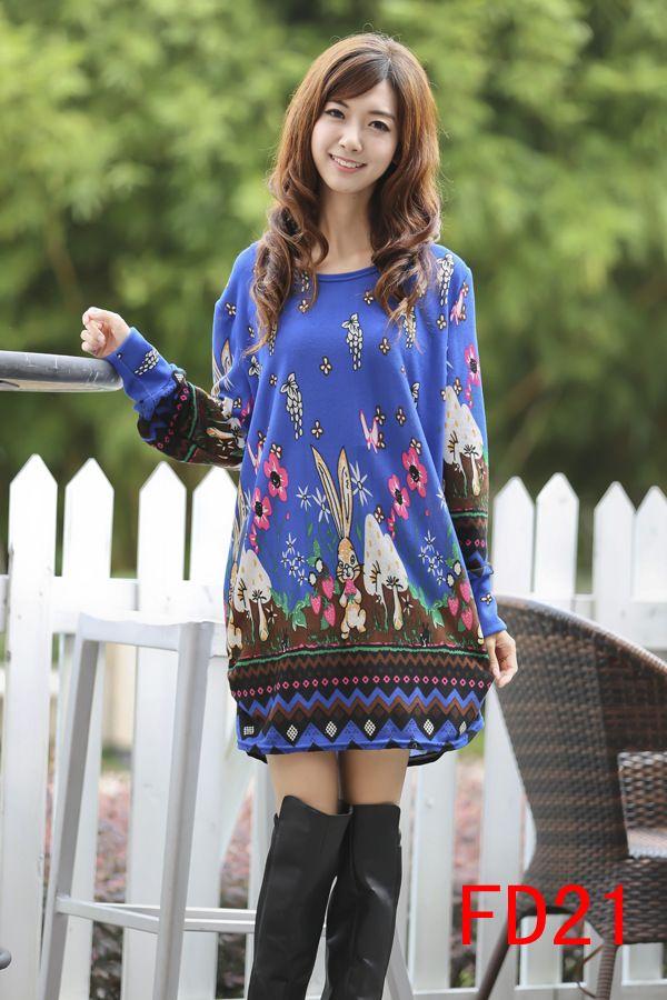 Women's Simple Dark Blue Long Sleeve Dress - 15FD2118