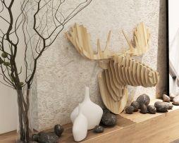 Umelecký drevený 3D obraz s hlavou losa v 9 farbách