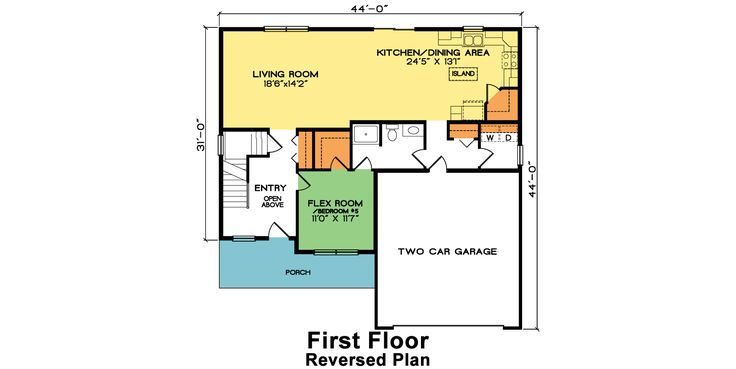 Frankford – Two Story Home Plan First Floor – Reversed