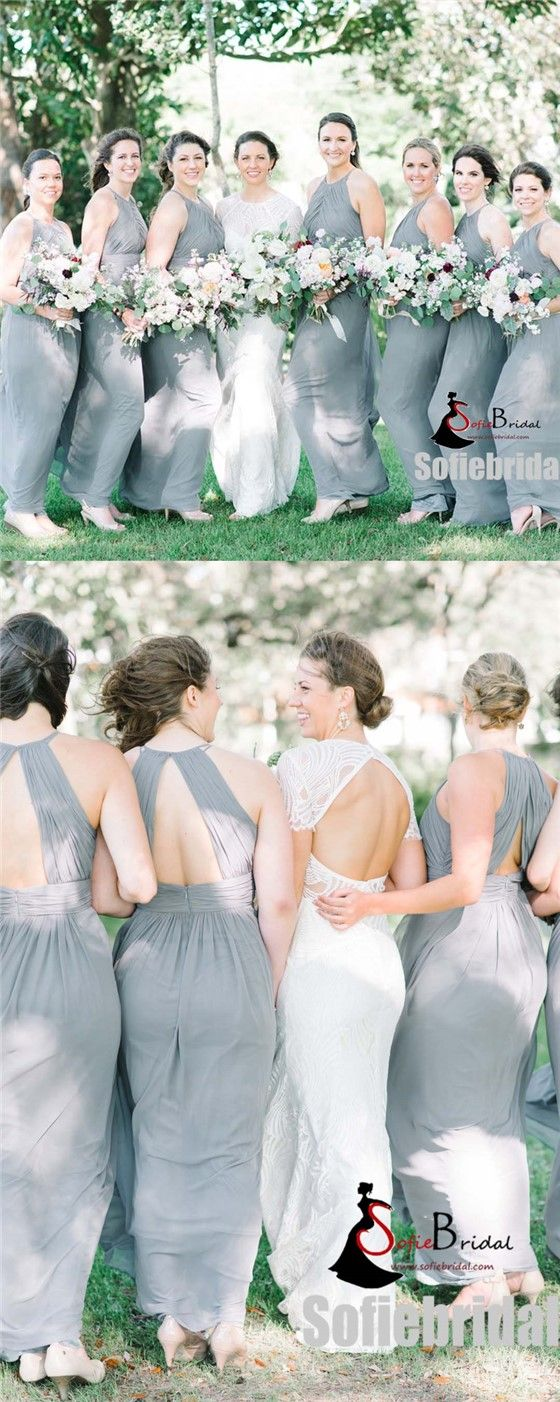 Elegant Halter Long A-line Open Back Chiffon Bridesmaid Dresses, Wedding Guest Dresses, PD0362 #Sofiebridal #bridesmaiddresses #longbridesmaiddresses link in bio