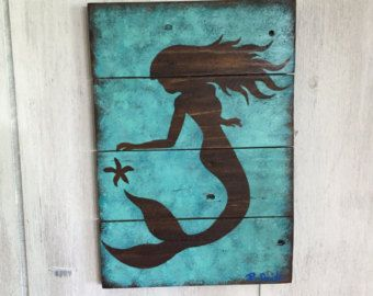 Mermaid Wall Decor - mermaid art on wood