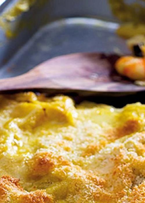 Lasanha de bacalhau com camarão e espinafres #Portuguesefood