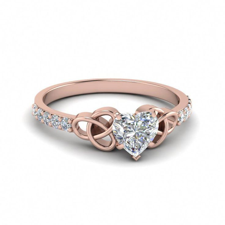 0,50 Karat herzförmiger irischer Diamant-Verlobungsring aus 14 Karat Roségold