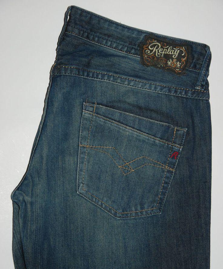 REPLAY JEANS SINNOR WV557 032 INDIGO BLUE BOOTCUT W34 L32