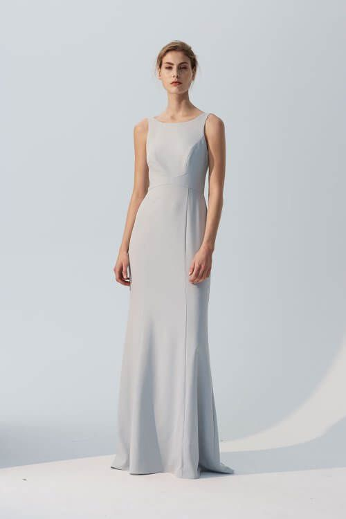 f9736368785 Joelle - High neck crepe bridesmaids long dress with dramatic low back.  Shown in Ice. #bride #bridesmaid #colors #dresses #gown #ideas #long  #mismatched ...