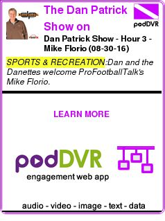 #SPORTS #PODCAST  The Dan Patrick Show on PodcastOne    Dan Patrick Show - Hour 3 - Mike Florio (08-30-16)    LISTEN...  http://podDVR.COM/?c=1b3c3367-2b3f-5b90-023c-6c0da4bf0bc2