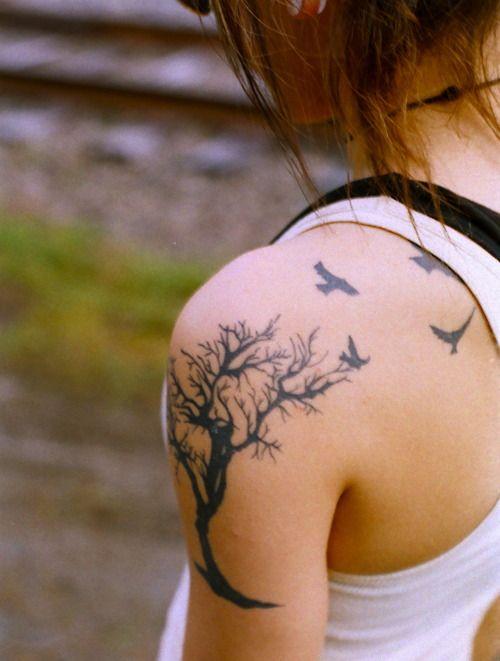 tree: Tree Tattoos, Tattoo Ideas, Birds Tattoo, Awesome Tattoo, Trees Tattoo, Tattoo'S, Tattoo Design, Shoulder Tattoo, Ink