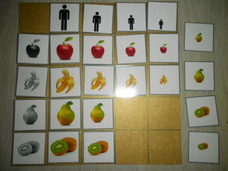 Matrix fruit: hoe groter het mannetje, hoe groter het stuk fruit hij krijgt! Sorteren volgens grootte en soort. *liestr*