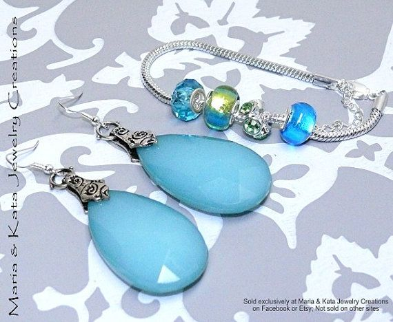 Blue and Green Lampwork Style Bracelet and by mariakatajewelry, $25.00