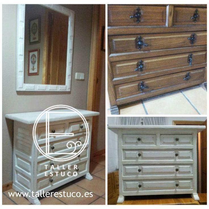 Taquill n castellano pintado en blanco envejecido for Remate de muebles para el hogar