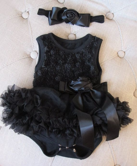Baby girl Black Rosette Bodysuit Pettiskirt and Headband Onesie tutu skirt ,Baby…