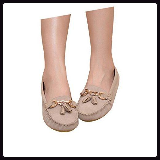 Frosted Quasten Runde Flache Schuhe,Beige-4.5(UK) - Sandalen für frauen (*Partner-Link)