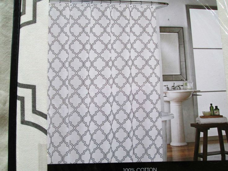 High Quality NEW Cynthia Rowley Fabric Shower Curtain Quatrefoil Grey White Throughout Cynthia Rowley Curtains