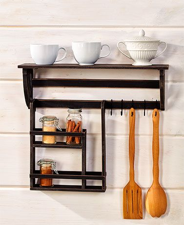 This Kitchen Wall Organizer is a convenient, space-saving storage solution for your food area. It features a top shelf and rack for your herbs and spices, as we