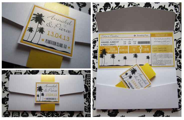 #boardingpassinvitation #whiteandyellowinvitation #destinationwedding #weddinginvitation  by Island Princess Designs  www.islandprincessdesigns.com.au